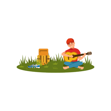 Young man sitting on grass with crossed legs and playing guitar. Rest at nature. Flat vector design