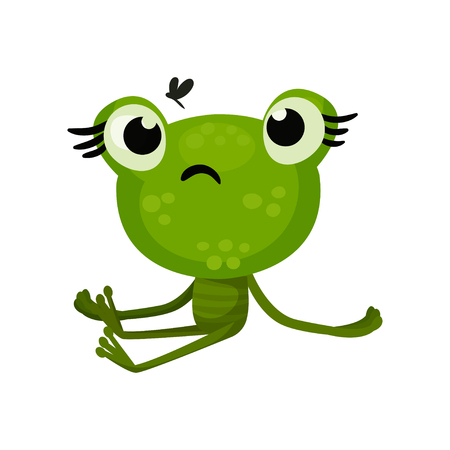 Green cute frog sitting with sad face expression, insect flying over head. Flat vector element for children book.