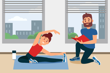 Young girl doing exercise sitting on floor. Coach writing notes in folder. Fitness gym interior with big windows. Woman warming-up before training. Physical activity. Colorful flat vector illustration Illustration