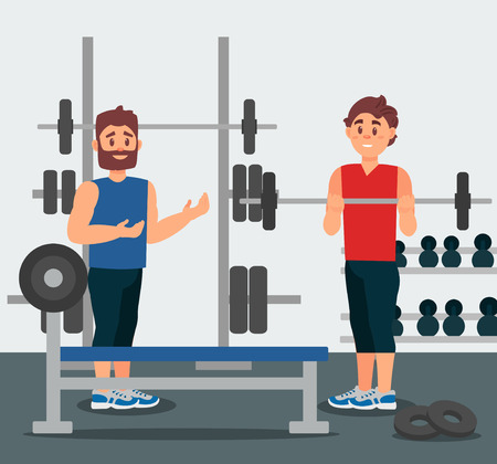 Professional trainer holds training session with young man. Guy doing exercise with barbell. Physical activity. Active workout. Gym equipment on background. Colorful vector illustration in flat style.