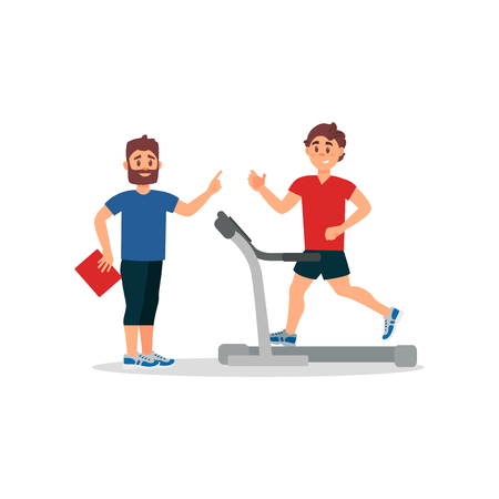 Fitness coach and young man on treadmill. Active workout. People in sportswear. Flat vector design
