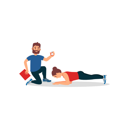 Young athlete girl doing plank exercise under control of personal trainer. Coach holding stopwatch and folder. Woman in gym. Healthy lifestyle. Colorful flat vector design isolated on white background