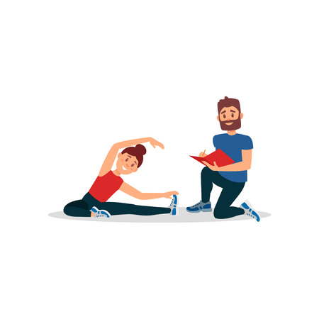 Smiling woman doing exercise sitting on floor. Coach writing notes in folder. Young girl warming-up before training. People in fitness center. Physical activity. Colorful flat vector illustration.