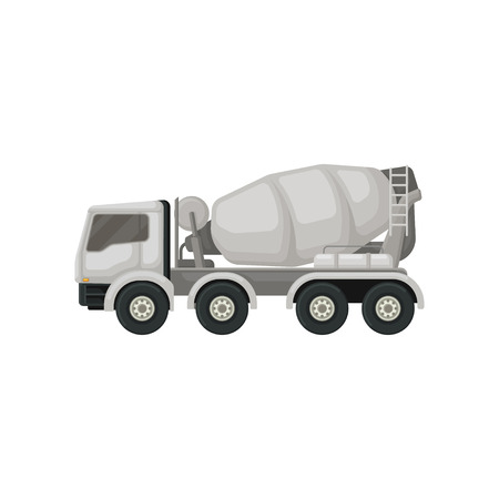 Concrete mixing truck. Machine with rotating container for transporting cement. Large vehicle using in construction. Flat vector design Stock Illustratie