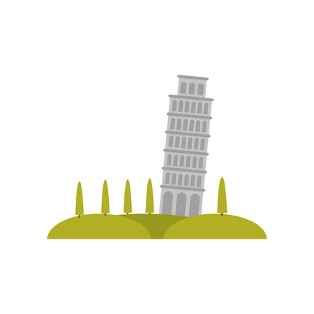 Leaning Pisa tower, green hills and trees. Famous tourist attraction. Flat vector element for promo poster or flyer of travel agency Stock Photo
