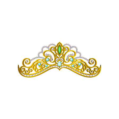Beautiful princess tiara decorated with blue and green gemstones. Shiny golden crown. Accessory of queen. Expensive jewelry. Cartoon vector icon. Colorful illustration isolated on white background.