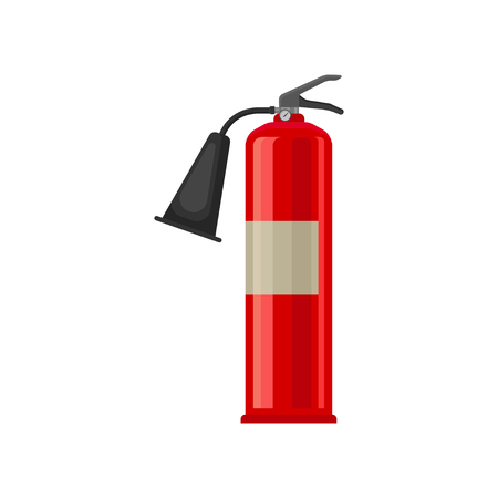 Cartoon style icon of carbon dioxide CO2 fire extinguisher. Red steel cylinder with compressed gas. Flame prevention tool. Colorful vector illustration in flat style isolated on white background. Illustration