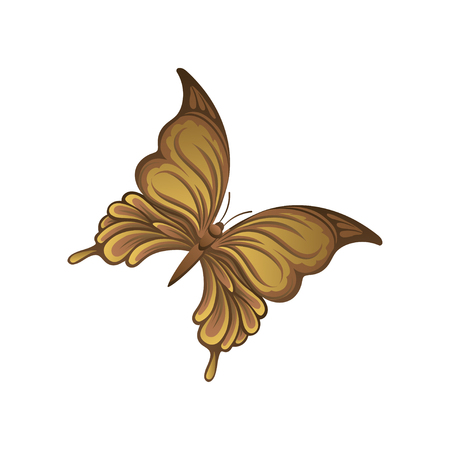 Icon of little butterfly in brown gradient colors. Beautiful flying insect. Graphic design for wall decor, greeting card, print or poster. Colorful vector illustration isolated on white background.