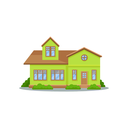 Modern green house with brown roof, big wooden windows and door. Lovely family home. Two-storey residential cottage. Flat vector icon