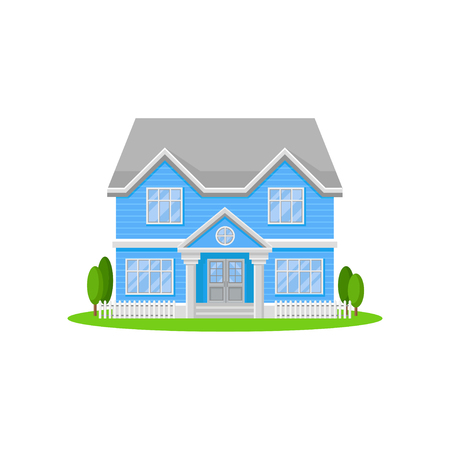 Two-storey house with big entrance door and windows. Bright blue residential cottage with gray roof. Lovely family home. Flat vector icon Illustration