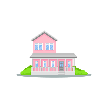 Charming two-storey pink house with terrace. Small family home. Bright green bushes. Cozy residential cottage. Flat vector icon