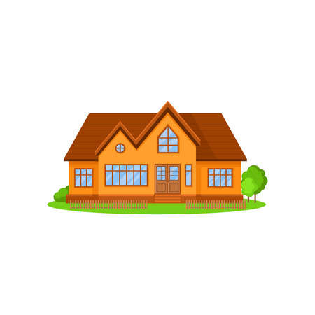 Flat vector icon of lovely two-storey house with wooden roof. Little fence, green trees and bushes on front yard. Residential cottage Illustration