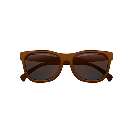 Super fashion wayfarer sunglasses with black tinted lenses and brown plastic frame. Eye protection accessory. Flat vector icon