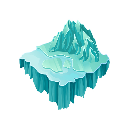 Isometric ice island with big frozen mountain and lake. Colorful flying platform. Gaming asset. Modern 3D style. Element for computer or mobile game. Vector illustration isolated on white background. Illusztráció