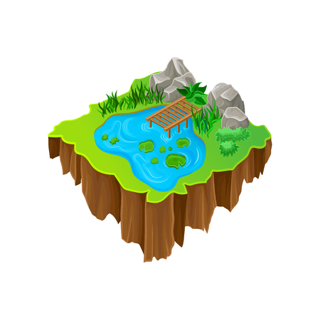 Cartoon illustration of isometric island. Lake with wooden pier, stones, green plants and grass. Modern 3D style. Graphic element for mobile game. Colorful vector design isolated on white background.