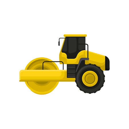 Flat vector icon of yellow road roller. Engineering motor vehicle with heavy roller. Machine used roadmaking