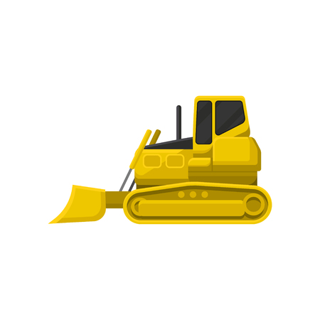 Illustration of yellow bulldozer. Powerful tractor with broad upright blade at front. Heavy motor machine using in construction industry, road building and mining. Flat vector design isolated on white