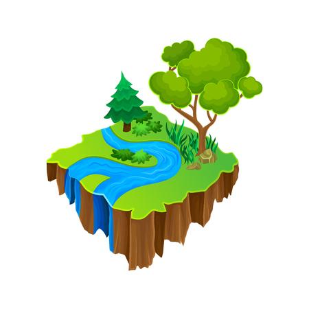 Izometryczna wyspa z błękitną rzeką, zieloną trawą i dużymi drzewami leśnymi. Element wektora do gry komputerowej lub mobilnej