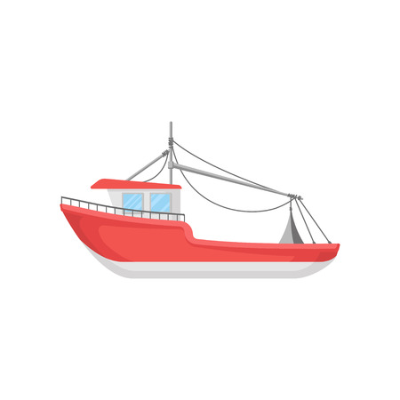 Cartoon illustration of bright red fishing boat. Big marine vessel. Icon for business concept. Graphic element for infographic or mobile game. Colorful flat vector design isolated on white background.