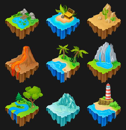 Set of floating platforms with different landscapes. Volcano with flowing lava, desert with cacti, waterfall, island with lighthouse. Graphic elements for mobile game. Isolated vector illustrations Ilustração