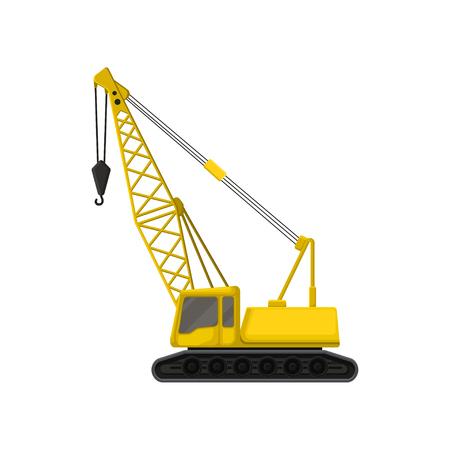 Flat vector icon of yellow crane on crawler tracks.