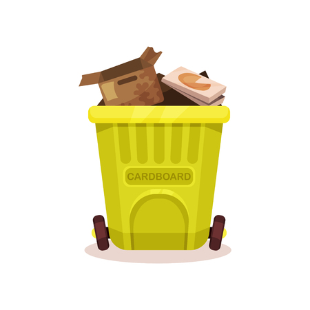Plastic container with cardboard waste. Flat vector element for poster about popularization of sorting and processing of garbage