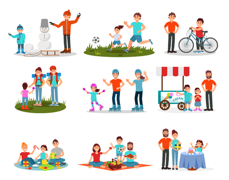Flat vector set of parents with kids in different actions. Family leisure. Active outdoor recreation. Birthday celebration Illustration
