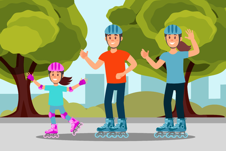 Happy family riding roller skate in park. Outdoor activity. Trees, bushes and city buildings on background. Flat vector design