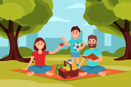 Family on picnic in park. Parents sitting on blanket, kid holding ball. Green trees, bushes and city buildings on background. Flat vector design