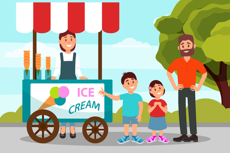 Cute little kids asking his father to buy ice cream. Dad spending time with his daughter and son in city park. Flat vector design Vectores