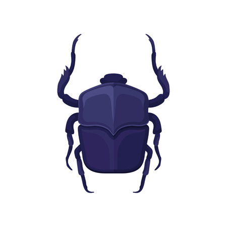 Detailed flat vector icon of purple scarab beetle. Sacred flying insect, symbol associated with ancient Egypt culture Illustration
