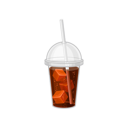 Plastic cup of soda with ice cubes. Sweet beverage with drinking straw and lid. Flat vector design for promo poster or menu