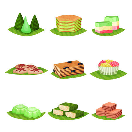Flat vector set of delicious Indonesian desserts. Tasty and sweet food. Culinary theme. Elements for poster, menu or recipe book