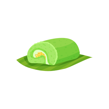 Tasty Indonesian dessert with sweet filling. Delicious dish on green leaf. Flat vector element for recipe book, cafe menu or flyer