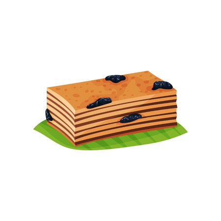 Slice of layered cake Quay Lapis with prunes on green leaf. Delicious Indonesian dessert. Oriental cuisine. Flat vector design for menu or flyer