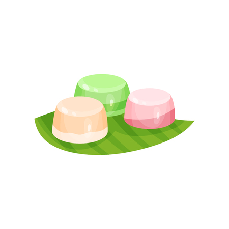 Delicious Indonesian dessert. Sweet snacks on green leaf. Food theme. Flat vector element for recipe book or menu Stock Illustratie