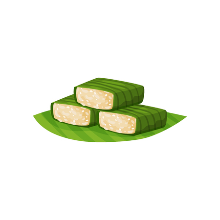Glutinous rice in green banana leaves. Traditional Indonesian snack. Oriental sweets. Flat vector element for poster, flyer or menu