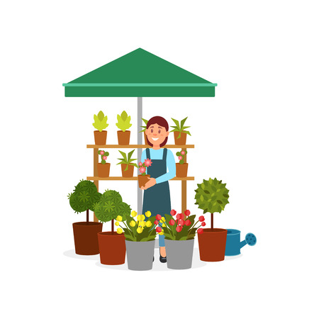 Smiling woman selling flowers on street market stand. Young girl holding pot with blooming plant. Flat vector design