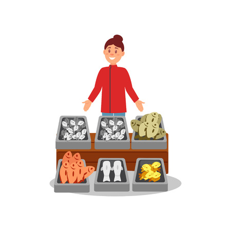 Young smiling woman standing near stand with fresh fish at local market. Street seafood shop. Flat vector design
