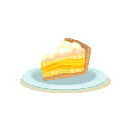 Slice of delicious lemon cake with cream. Homemade pie on plate. Tasty dessert.Flat vector design for cafe menu