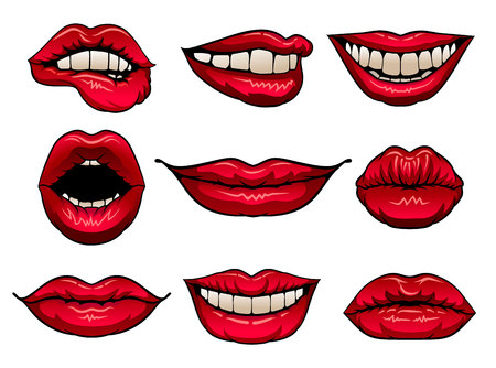 Flat vector set of female lips with bright red lipstick. Icons of women s mouths. Design for print, mobile app, sticker or promo poster Illustration