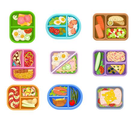 Flacher Vektorsatz von Lunchboxen-Kunststoffschalen mit köstlicher Mahlzeit. Appetitliches Essen. Lachsfisch, frisches Gemüse, Eier und Sandwiches