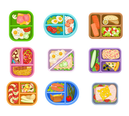 Flat vector set of lunch boxes plastic trays with delicious meal. Appetizing food. Salmon fish, fresh vegetables, eggs and sandwiches Illustration