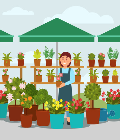 Young woman selling flowers in street market stall. Young girl standing under umbrella and holding pot with plant. Flat vector design