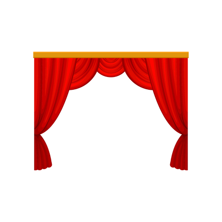 Red curtains with lambrequins for theater or circus stage. Decorative flat vector element for promo poster, banner or website