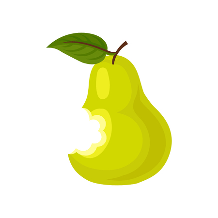 Ripe bitten pear with green leaf. Delicious summer fruit. Flat vector element for poster or yogurt packaging