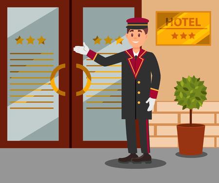 Joyeux portier debout devant les portes d'entrée de l'hôtel. Jeune homme souriant en uniforme. Conception de vecteur plat Vecteurs