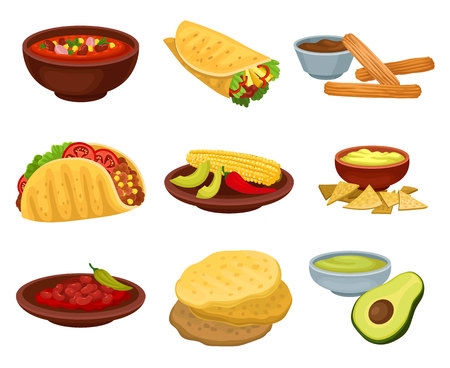 Flat vector set of traditional Mexican food. Bowl of spicy soup, burrito, flour tortillas, guacamole, churros with chocolate sauce