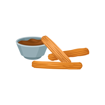 Sweet homemade churros with chocolate dipping sauce. Delicious Mexican snack. Flat vector design for cafe menu or poster