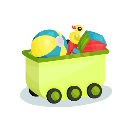 Small green wagon full of children toys. Inflatable ball, rubber yellow duck, cube and red car. Element for promo poster or flyer of kids store. Colorful flat vector illustration isolated on white.